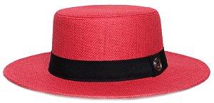 Chapéu Palheta Palha Rígida Vermelho Aba 7cm Faixa Clássica