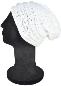 Touca Gorro Beanie Lã Tricô Branco