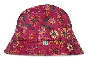 Chapéu Bucket Infantil Estampa Flores Bordô