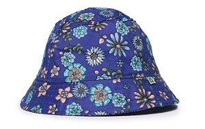Chapéu Bucket Infantil Estampa Flores Azuis