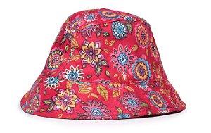Chapéu Bucket Infantil Estampa Flores Vermelho