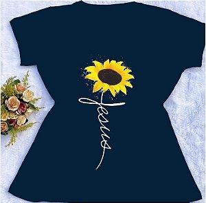 T-shirt Viscolycra Jesus Girassol Azul Marinho