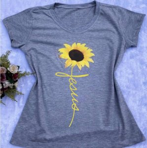 T-shirt Viscolycra Jesus Girassol Cinza