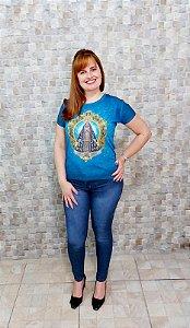 Baby Look Nossa Senhora Aparecida Azul - Coleção Pedraria