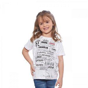 Camiseta Infantil Unissex Mensagem - Fé, Gratidão, Paz