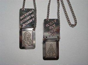 Escapulário Chapa Dupla - Coração de Jesus e Nossa Senhora Aparecida - Aço/ Inox