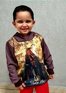 Moletom Infantil e Juvenil Santo Padre Pio - Capuz e Bolso