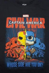 Camiseta Funko Guerra Civil Iron Man / Capitão América Exclusiva