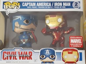 Funko Pop Pack Civil Wars Iron Man Vs Capitão América Exclusivo