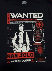 Camiseta Funko Linha Star Wars Wanted Han Solo Exclusiva