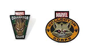 Funko Pin e Emblema Tecido Marvel Guardiões da Galáxia Exclusivo