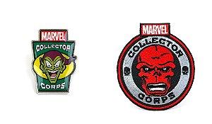 Funko Pin e Emblema Tecido Marvel Vilões Exclusivo