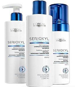 Loreal Serioxyl Fuller Hair p/ Finos e Crescimento - Kit 3pc