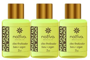 Nativa Óleo Finalizador Baru + Argan Kit c/ 3 x 7ml
