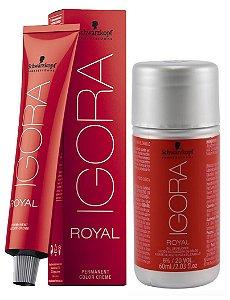 Tintura Igora Royal 6-88 Louro Escuro Vermelho Extra + OX 20 Vol. (6%)