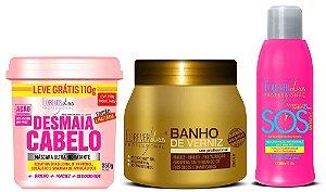 Forever Liss Kit SOS + Banho Verniz + Desmaia Cabelo