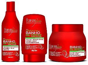 Forever Liss Kit Banho de Verniz Morango Brilho Extremo 250g (3 Itens)