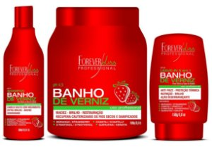 Forever Liss Banho de Verniz Morango Kit 1 Kilo (3 itens) +Brinde