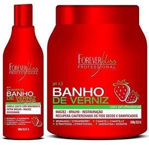 Forever Liss Banho de Verniz Morango 1kg + Shampoo (+Brinde)