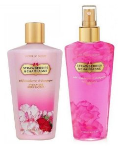 Victorias Secret Kit Hidratante + Splash Strawberries 250ml