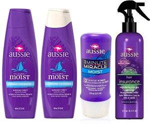 Aussie Kit Moist Shampoo + Cond + 3 Minute + Protetor Térmico
