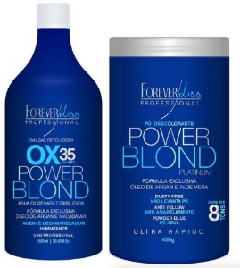 Forever Liss Kit Pó Descolorante 450g e Ox 35 1 Litro - Power Blond