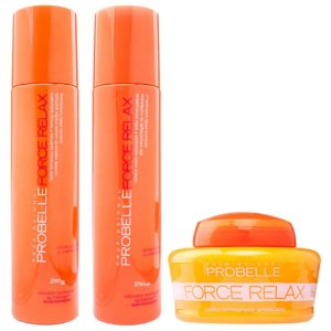 Probelle Force Relax p/ Secos Ressecados e Frizz - Kit 3 itens