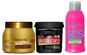 Forever Liss Kit Cronograma Banho Verniz + Anabolizante + SOS (brinde)