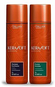 Itallian Hair Kerasoft Escova Progressiva Profissional - Kit 2x1L
