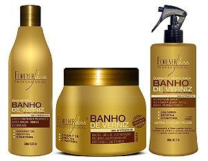 Forever Liss Kit Banho de Verniz + Shampoo + Spray Queratina (3pc)