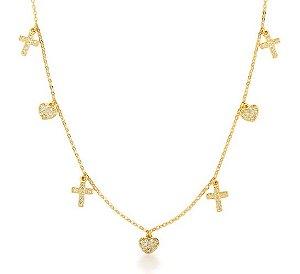 Colar  banhado ouro 18k Coração e Cruz Cravejados