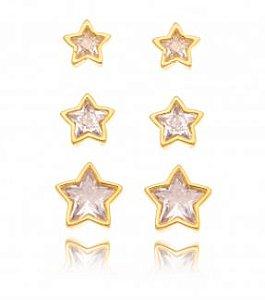 Trio banhado ouro 18k Estrelas Cravejadas Cristal