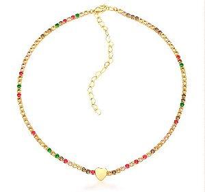 Choker Banhado ouro 18k Riviera Colorida com Coração Liso