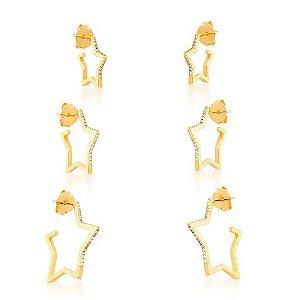 Trio Brinco Banhado ouro 18k  Estrela