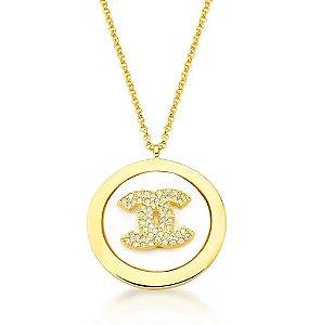 Colar Banhado ouro 18k Longo Madrepérola Símbolo X