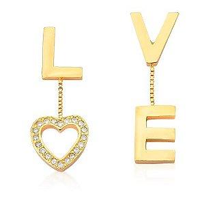 Brinco banhado ouro 18k Love
