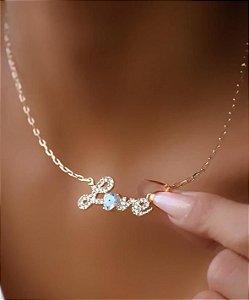 Colar Banhado Ouro 18k Love com Olho Grego