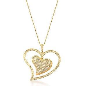 Colar Banhado Ouro 18k Coração Grande