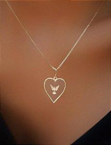 Colar Banhado Ouro 18k Coração com Espirito Santo