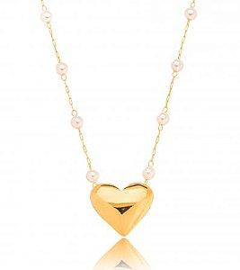 Colar Banhado ouro 18k Pérola Coração Liso