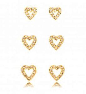 Brinco Trio banhado ouro 18k Corações Cravejados