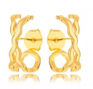 Brinco Banhado ouro 18k Ear Hook X Trabalhado Liso