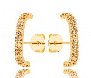 Brinco banhado ouro 18k Ear Hook Micro Zircônia