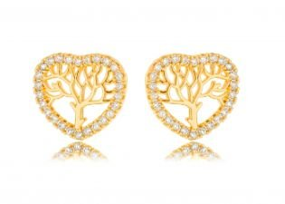 Brinco Banhado ouro 18k Coração Árvore Zircônia