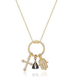 Colar banhado ouro 18k pingentes religiosos Nossa Senhora Aparecida,Cruz, Mão de Fatima