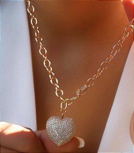 Colar Banhado ouro 18k Coração todo cravejado cordão elos com fecho para frente