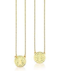 Escapulario Banhado ouro 18k Liso Medalha de São Bento