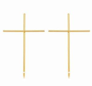 Brinco Banhado ouro 18k Cruz Liso