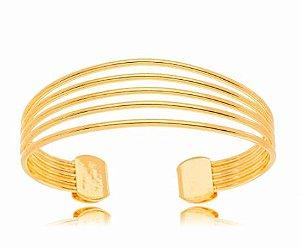 Bracelete banhado ouro 18k Fileiras Liso