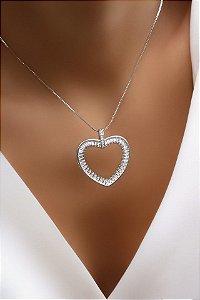 Colar Banhado Rodio Branco Coração Cristal